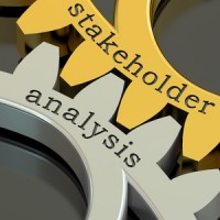 57471005 - stakeholder analysis concept on the gearwheels, 3d rendering