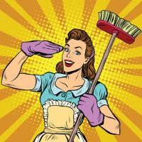60586682 - female cleaner cleaning company pop art, vector illustration. housewife in retro style